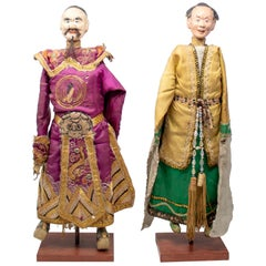 1950s Pair of Oriental Puppet Marionettes with Original Dress
