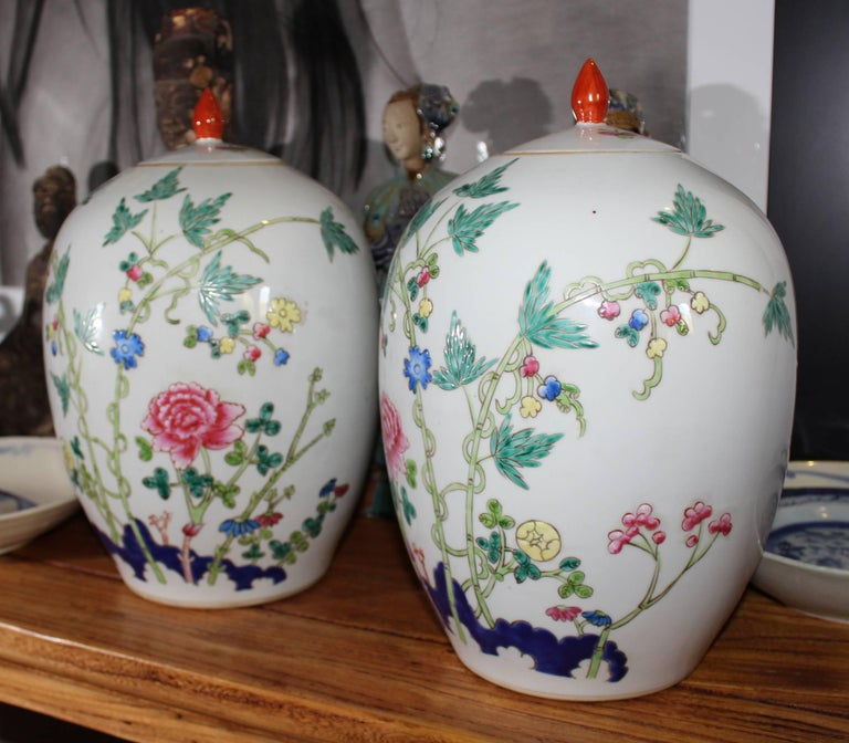 Chinese 1950s Pair of Oriental Urns with Flower Decorations For Sale