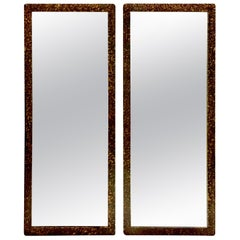 1950s Pair of Phyllis Morris Style Giltwood Faux Tortoise Rectangular Mirrors