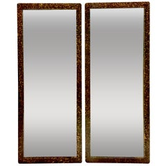 1950'S Pair Of Phyllis Morris Style Gilt Wood Faux Tortoise Rectangular Mirrors