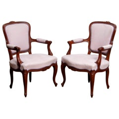 1950s Pair of Pink Swedish Rococo Bergère in the Shabby Chic Technique Chairs F