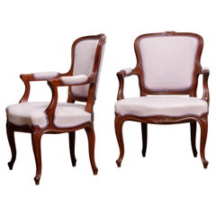 1950s Pair of Pink Swedish Rococo Bergère in the Shabby Chic Technique Chairs