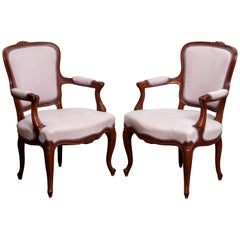 1950s Pair of Pink Swedish Rococo Bergères in the Shabby Chic Technique Chairs F