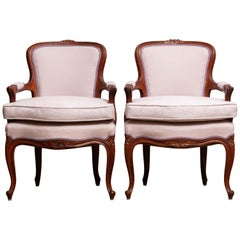 1950s, Pair of Pink Swedish Rococo Bergères in the Shabby Chic Technique Chairs