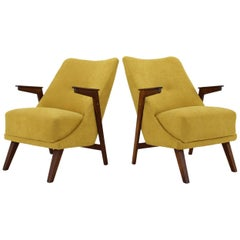 1950s Pair of Rare Beech Armchairs, Czechoslovakia