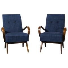 1950s Pair of Re-Upholstered Armchairs by Jindrich Halabala, Curved Loop Arms