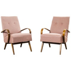 1950s Pair of Red Fleck Upholstered Armchairs, Jindrich Halabala
