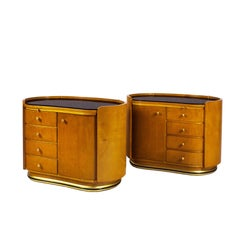 1950s Pair of Rounded Night Stands, Beech, Sycamore, Opaline, Brass, France