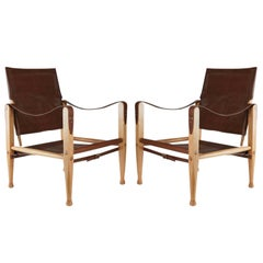 1950s Pair of Safari Armchairs Kaare Klint for Rud Rasmussen