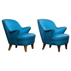 1950s Pair of Scandinavian Club Lounge Chairs in Petrol Fabric