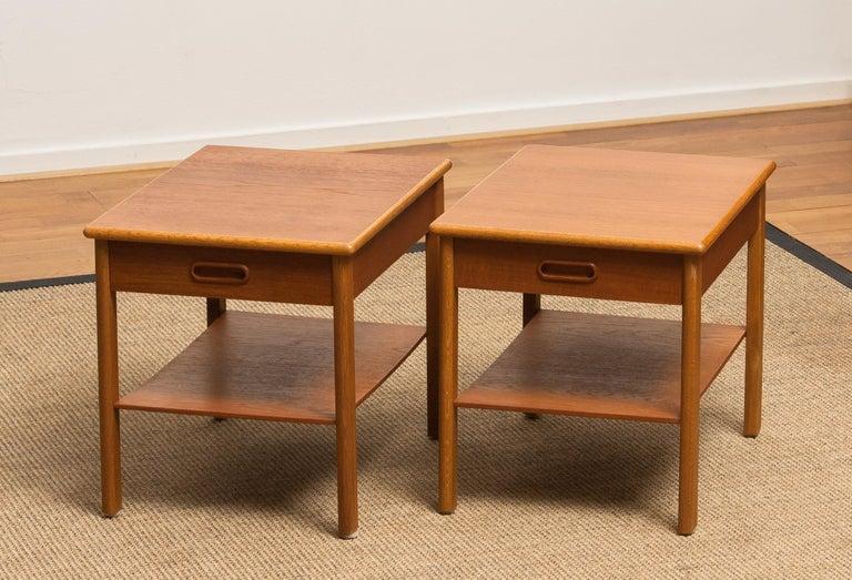 Swedish 1950s, Pair of Scandinavian Teak Bedside Tables or Nightstands, Sweden For Sale