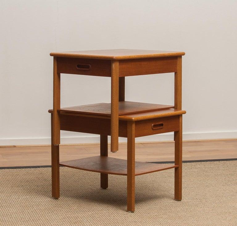 1950s, Pair of Scandinavian Teak Bedside Tables or Nightstands, Sweden In Good Condition For Sale In Silvolde, Gelderland