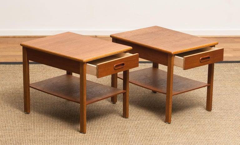 Mid-20th Century 1950s, Pair of Scandinavian Teak Bedside Tables or Nightstands, Sweden For Sale