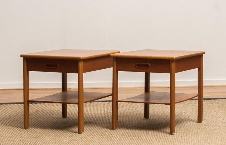 1950s, Pair of Scandinavian Teak Bedside Tables or Nightstands, Sweden For Sale 2