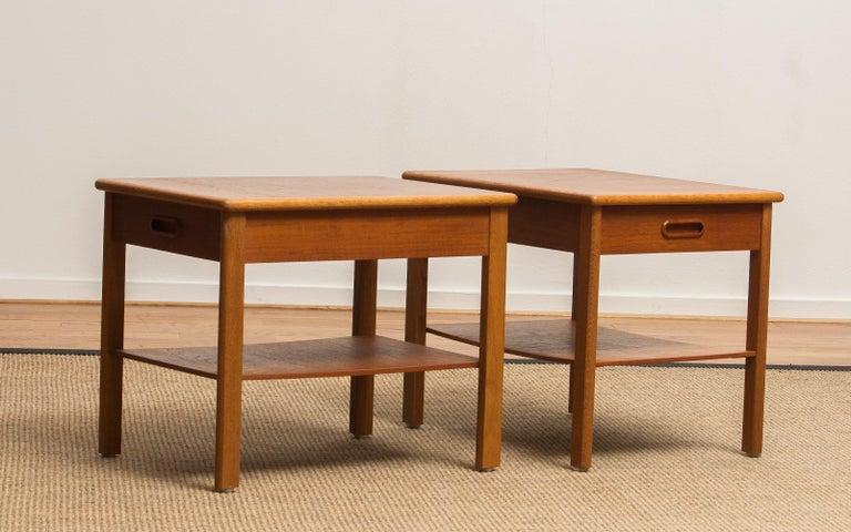 1950s, Pair of Scandinavian Teak Bedside Tables or Nightstands, Sweden For Sale 3