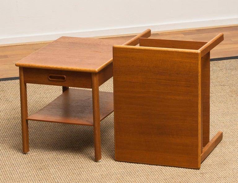 1950s, Pair of Scandinavian Teak Bedside Tables or Nightstands, Sweden For Sale 4