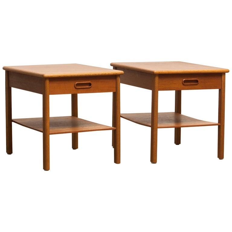 1950s, Pair of Scandinavian Teak Bedside Tables or Nightstands, Sweden For Sale