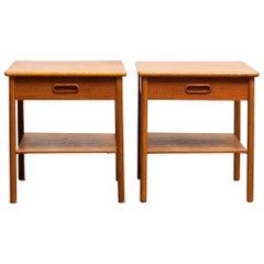 1950s, Pair of Scandinavian Teak Bedside Tables or Nightstands by SMI Sweden F