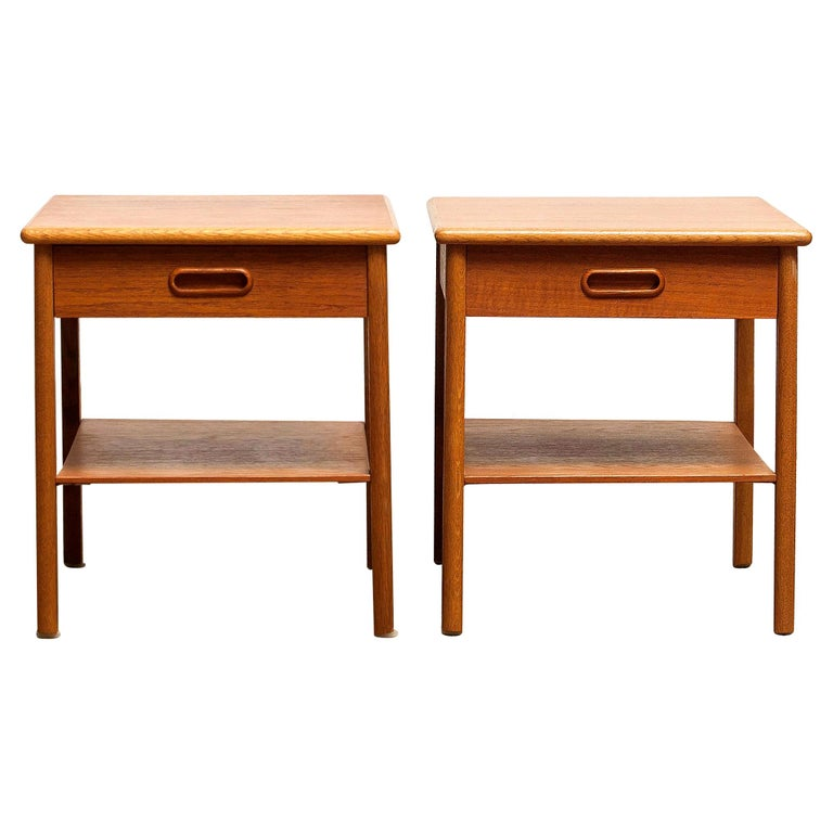 Beautiful pair of bedside tables from Sweden. These tables are made of teak and they have a drawer. They are in very nice condition. Period: 1950s. Dimensions: H 39 cm, W 36 cm, D 48 cm.