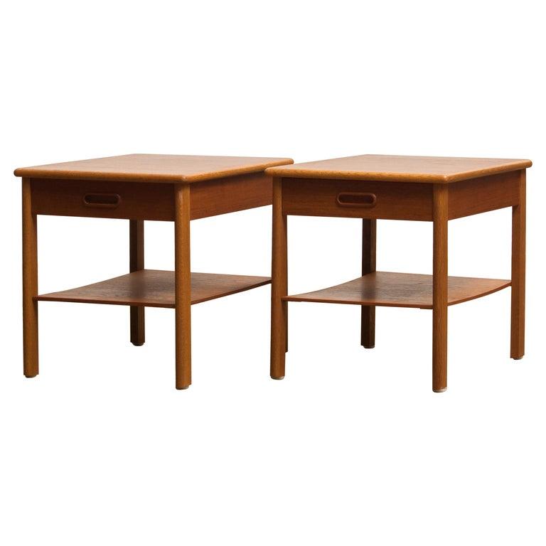 Swedish 1950s, Pair of Scandinavian Teak Bedside Tables or Nightstands, Sweden