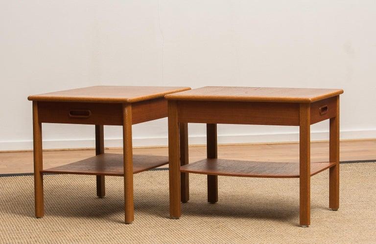 1950s, Pair of Scandinavian Teak Bedside Tables or Nightstands, Sweden 2