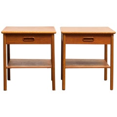 1950s, Pair of Scandinavian Teak Bedside Tables or Nightstands, Sweden