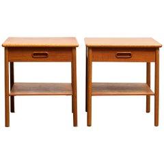 1950s, Pair of Scandinavian Teak Bedside Tables or Nightstands, Sweden