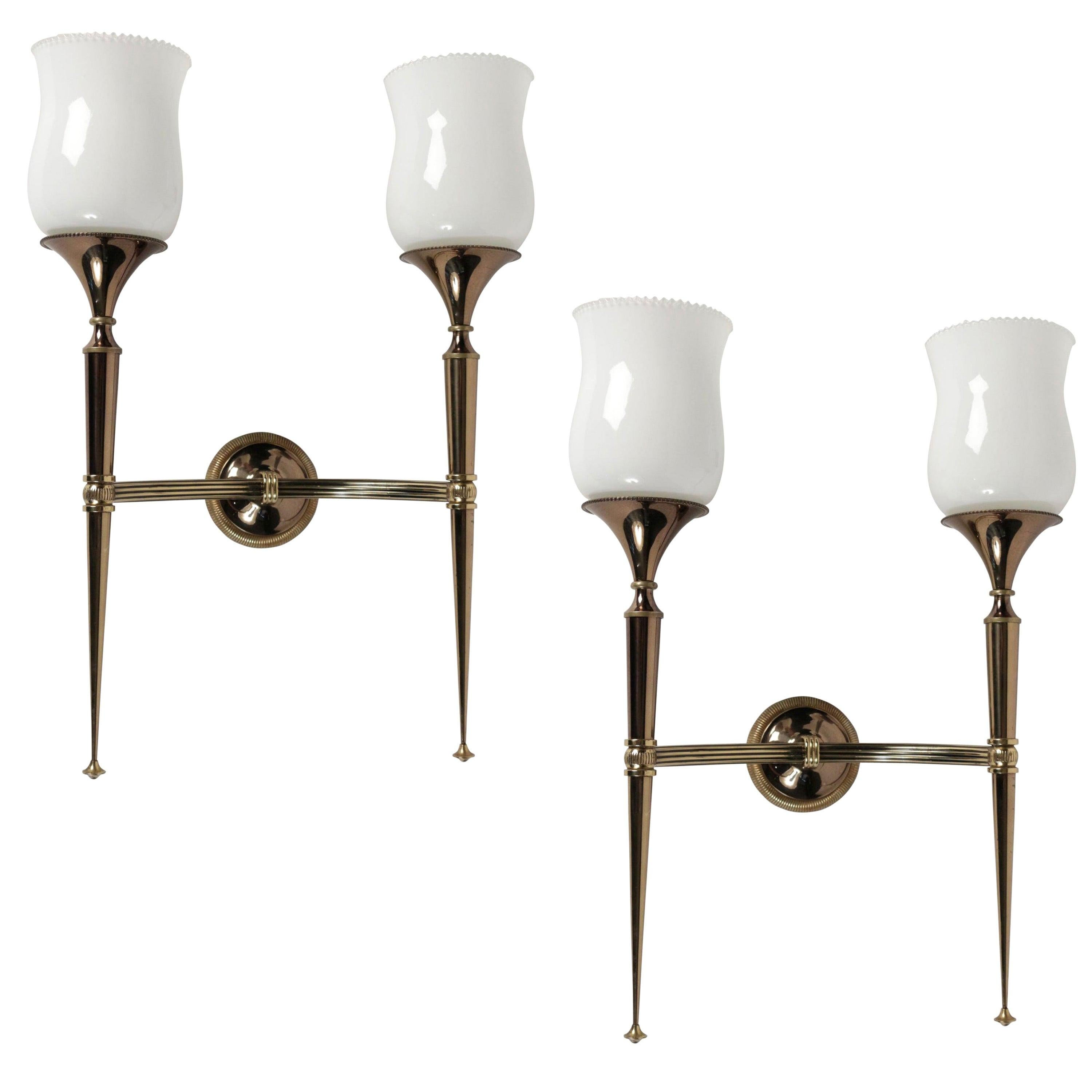 1950s Pair of Sconces by Maison Arlus