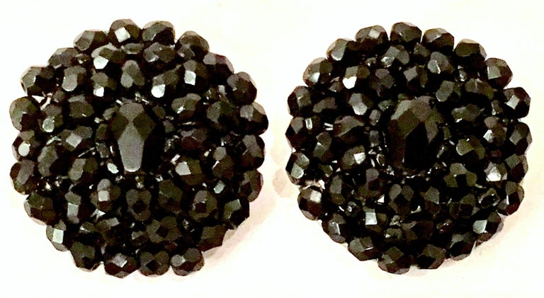 1950'S Pair Of Silver & Jet Black Cut Art Glass Earrings In Good Condition For Sale In West Palm Beach, FL