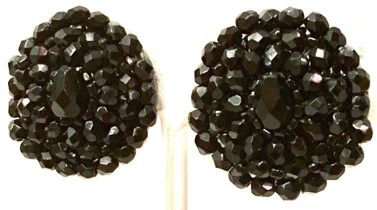 1950'S Pair Of Silver & Jet Black Cut Art Glass Earrings For Sale 1