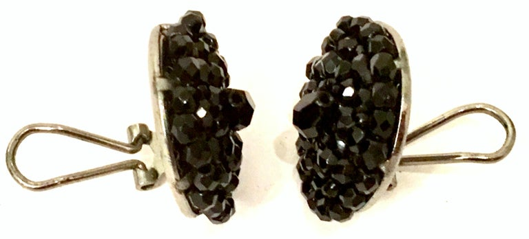 1950'S Pair Of Silver & Jet Black Cut Art Glass Earrings For Sale 2