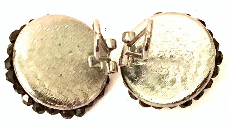 1950'S Pair Of Silver & Jet Black Cut Art Glass Earrings For Sale 4
