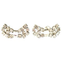 "1950'S Pair Of Silver & Swarovski Crystal ""Bow"" Earrings By, Kramer"