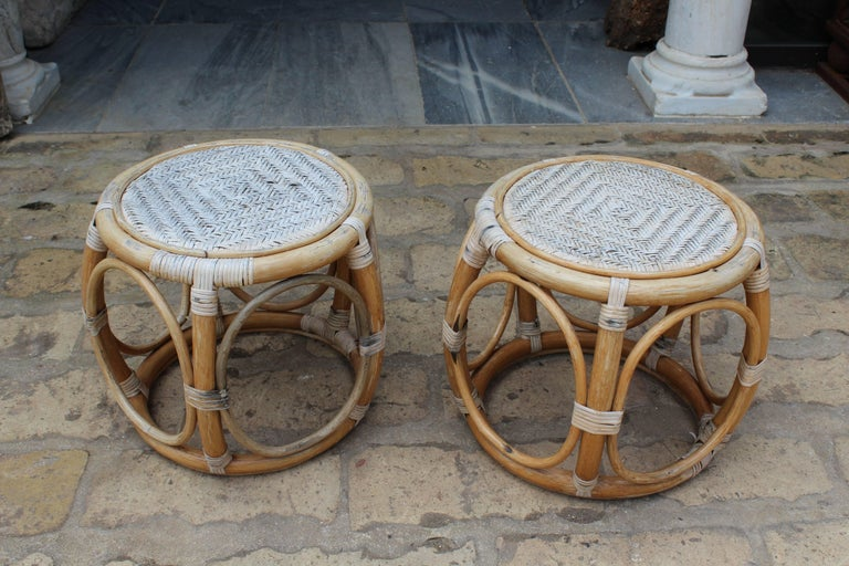 1950s Pair of Spanish Bamboo and Rattan Stools For Sale at ...