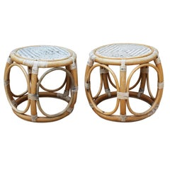 1950s Pair of Spanish Bamboo and Rattan Stools