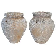1950s Pair of Spanish Ceramic Terracotta Vases