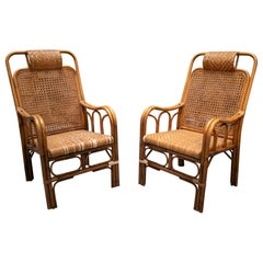 1950s Pair of Spanish Hand Woven Wicker Armchairs