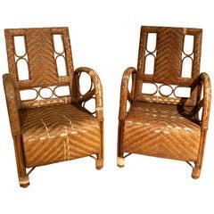 1950s Pair of Spanish Hand Woven Wicker Armchairs