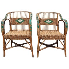 1950s Pair of Spanish Laced Wicker, Wood and Bamboo Armchairs