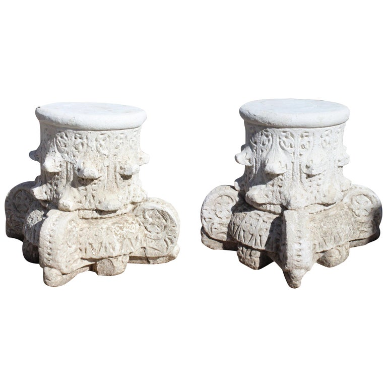1950s Pair of Spanish Sandstone Alhambra Style Capital For Sale