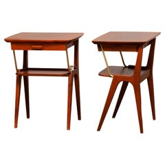 1950's Pair of Swedish Mahogany Nightstands / Bedside Tables with Brass Details