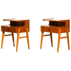 1950s Pair of Teak 'Model C' Bedside Tables
