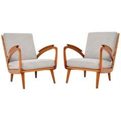 1950s Pair of Vintage Cherrywood Armchairs