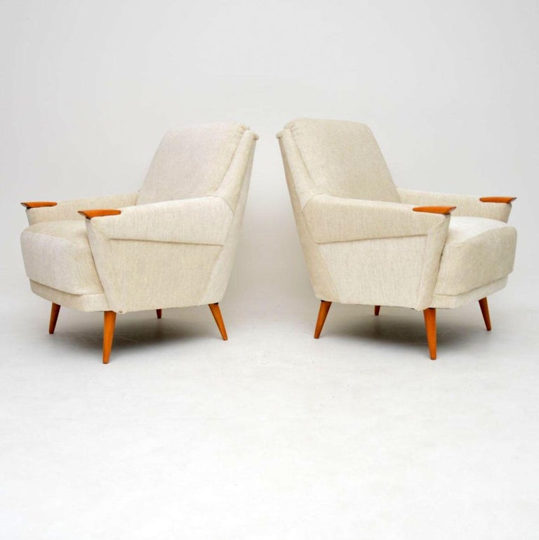 Fabric 1950s Pair of Vintage Danish Armchairs For Sale