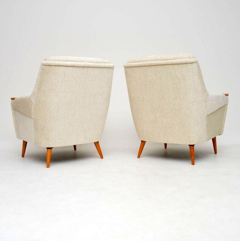 1950s Pair of Vintage Danish Armchairs For Sale 1