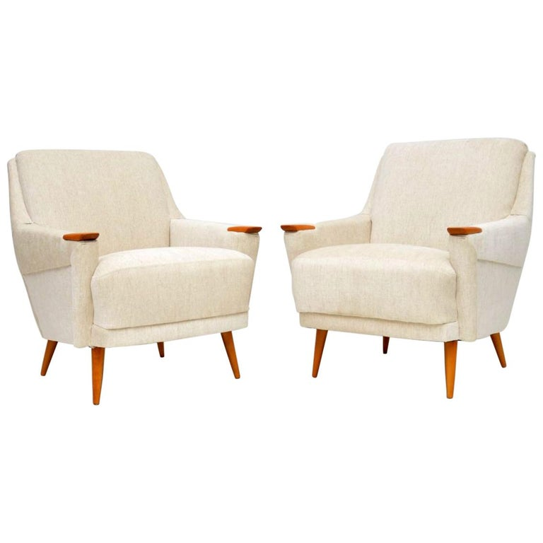 1950s Pair of Vintage Danish Armchairs For Sale