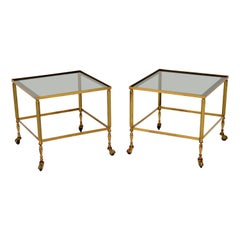 1950s Pair of Vintage French Brass and Glass Side Tables