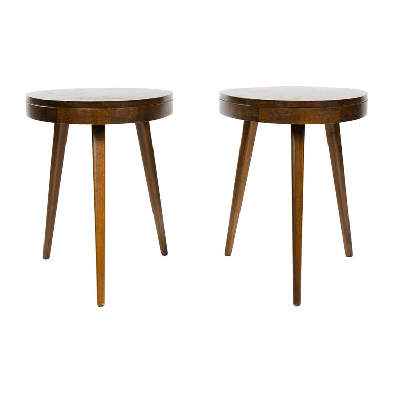 1950s Pair of Walnut Side Tables For Sale