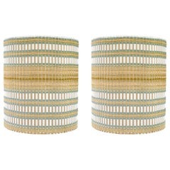 1950s Pair of Woven Lamp Shades in the Style of Maria Kipp