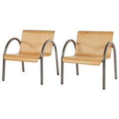 Mid Century Modern Pair or Set of Four Metal and Wood Armchairs